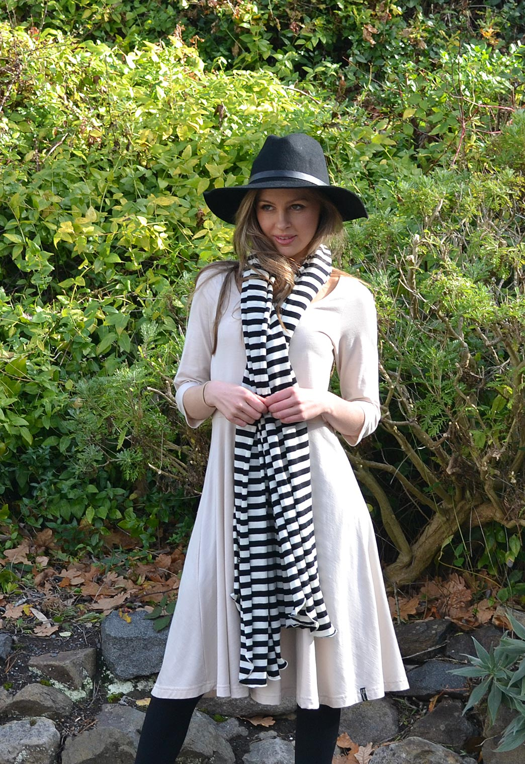 Sandy Beach Jackie Dress Black/Ivory Stripe Scarf
