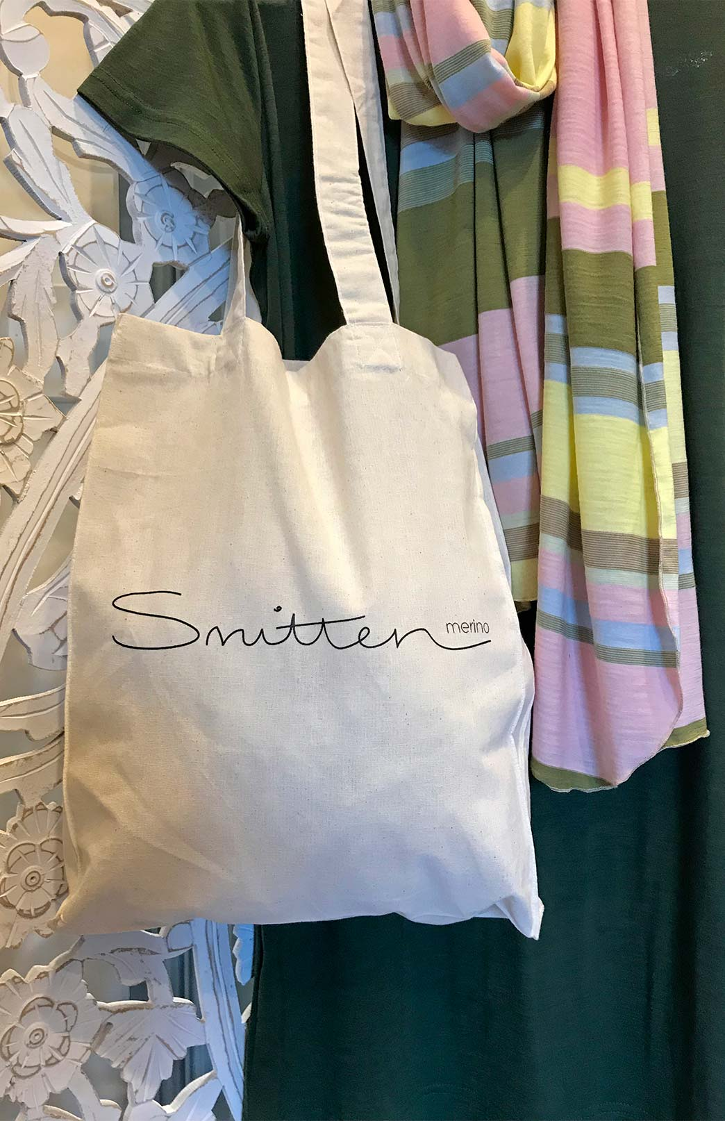 Smitten Reusable Tote Bag - Eco Friendly Reusable Calico Tote Bag with Handles - Smitten Merino Tasmania Australia