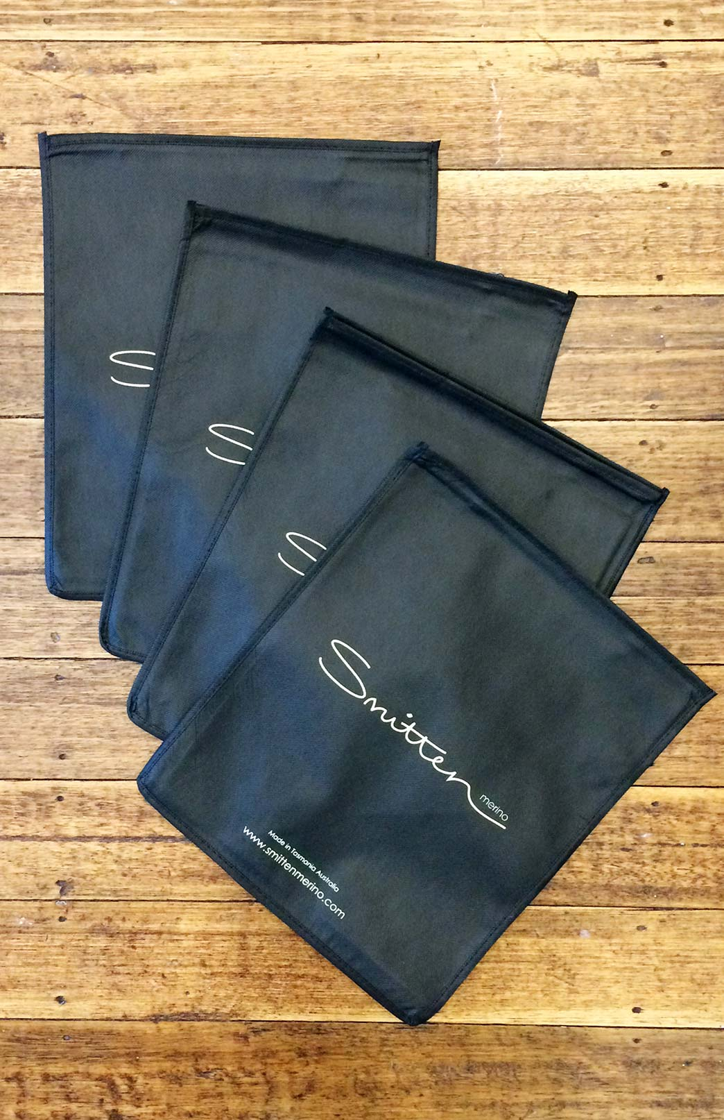 Smitten Clothing Bags - Multi Pack - Unique Smitten Branded Clothing Protection and Travel Bags - Smitten Merino Tasmania Australia