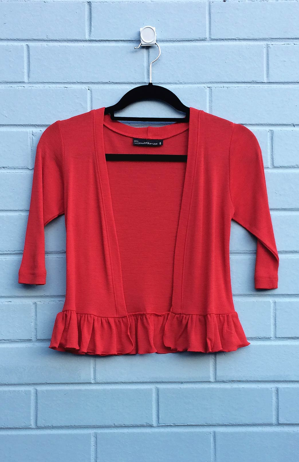 Crop Cardigan with Ruffled Hem - Women's Flame Red Ruffled Hem Crop Cardigan - Smitten Merino Tasmania Australia