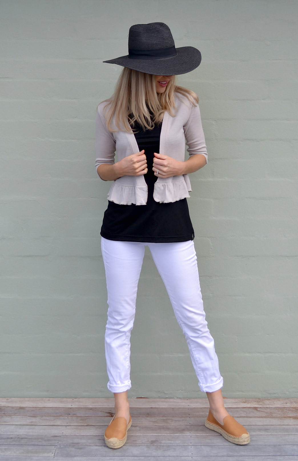 Crop Cardigan - 3/4 Sleeve with Ruffled Hem - Women's Neutral Stone Ruffled Hem 3/4 Sleeve Crop Cardigan - Smitten Merino Tasmania Australia