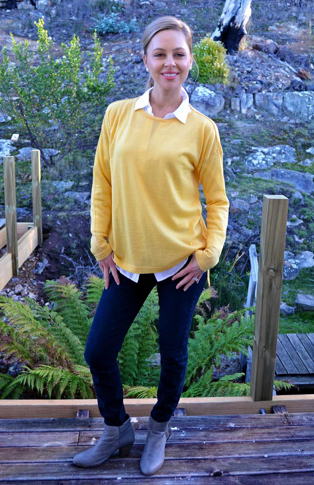High Low Cut Fine Knit Jumper - Smitten Merino Tasmania Australia