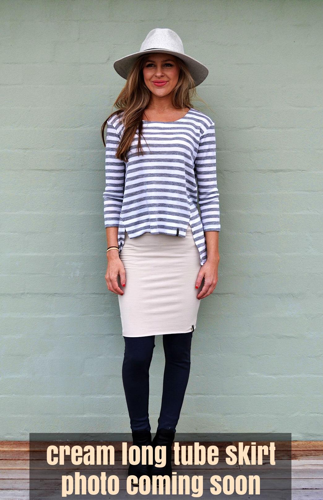 Long Tube Skirt - Women's Cream Merino Wool Fitted Maxi Skirt with wide waistband - Smitten Merino Tasmania Australia