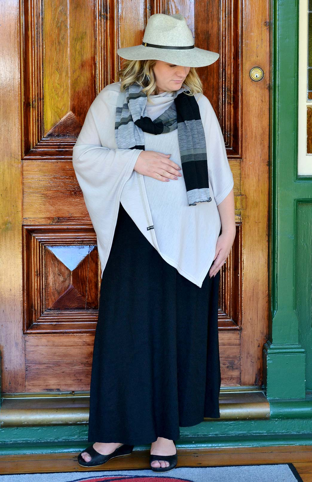 Scarves - Multi Striped - Women's Black and Grey Striped Wide Wool Scarf - Smitten Merino Tasmania Australia