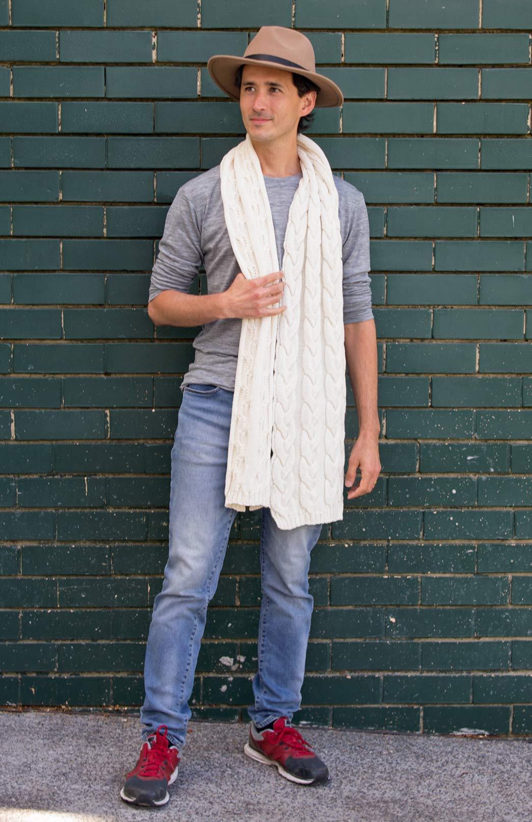Men's Chunky Knit Cable Scarf - Men's Cream Chunky Merino Wool Knit Scarf with Cable Detailing - Smitten Merino Tasmania Australia