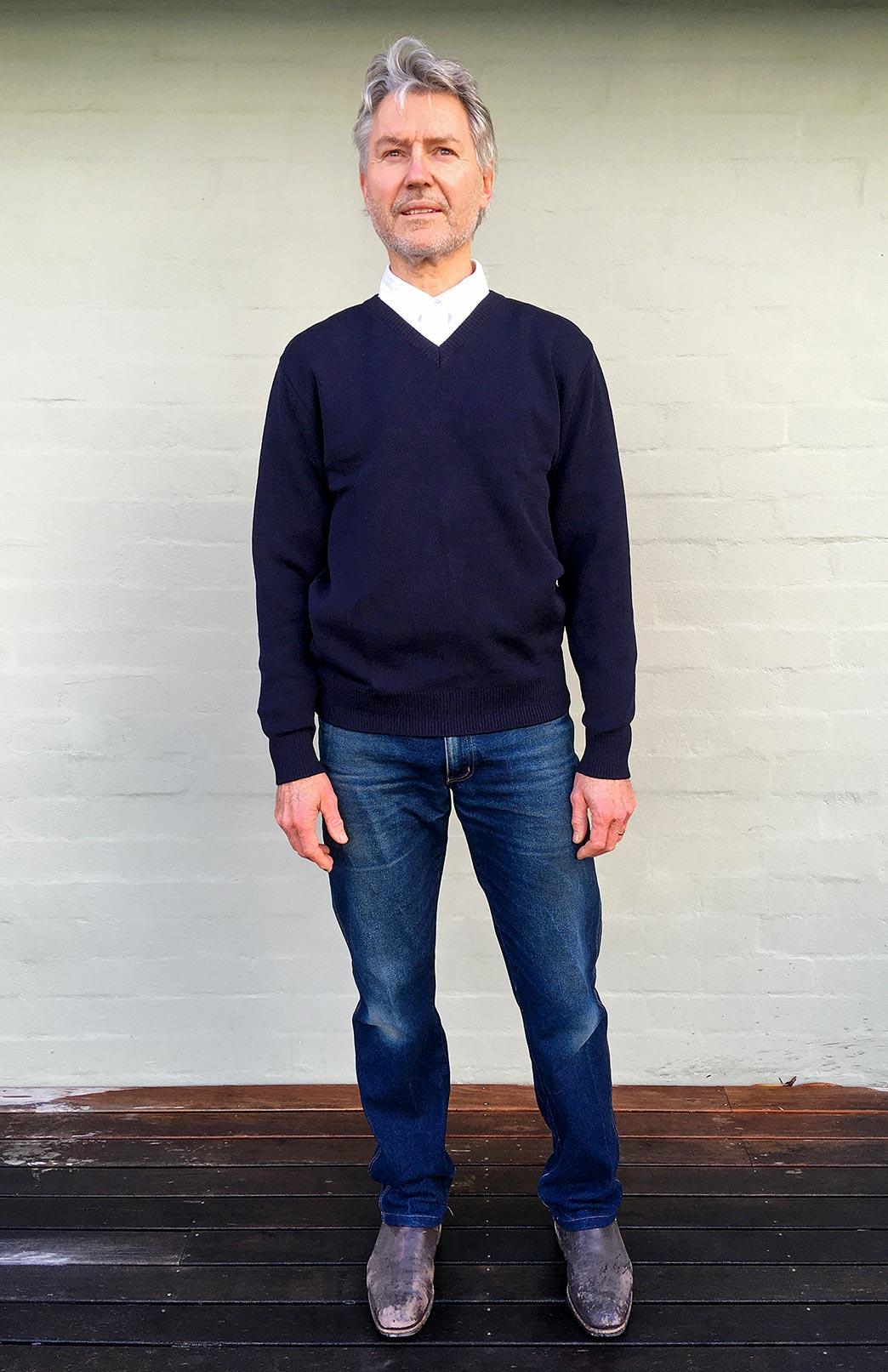 Men's Knitted Wool V-Neck Jumper - Men's Superfine Knitted Merino Wool Classic V-Neck Pullover Jumper - Smitten Merino Tasmania Australia