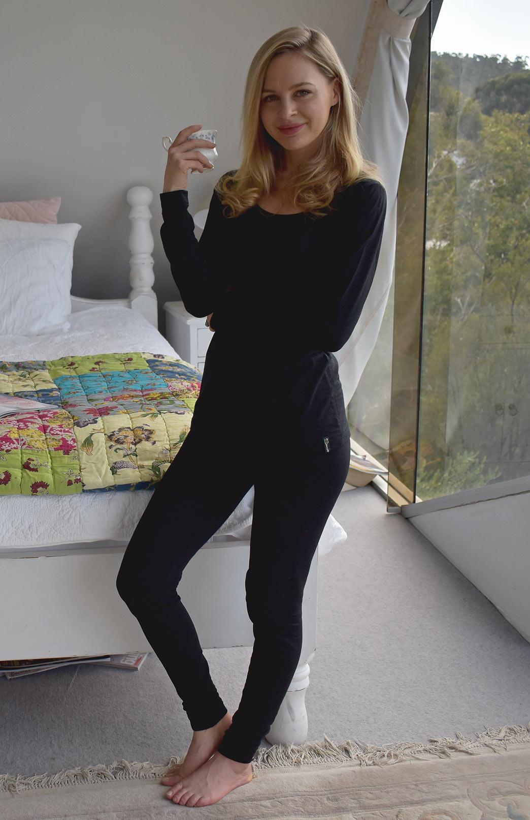 Pyjama Set - Women's Black Merino Wool Matching Pyjama Set of Long Sleeved Scoop Top and Tights - Smitten Merino Tasmania Australia