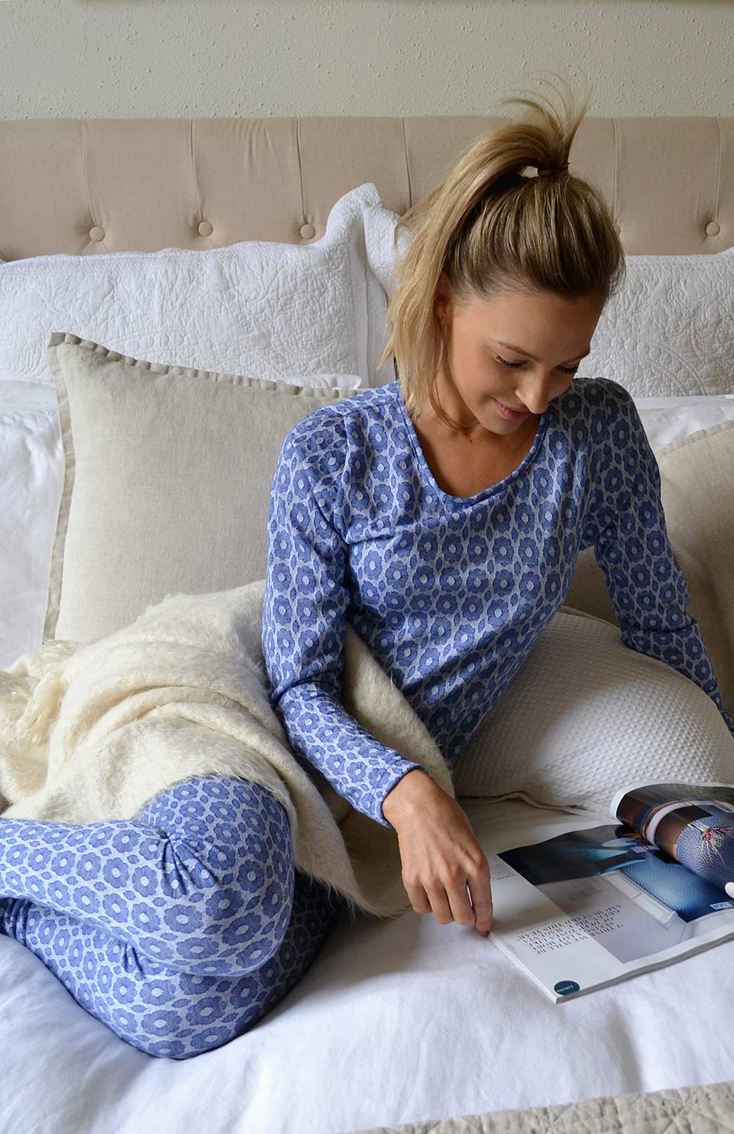 Pyjama Set - Women's Blue Daisy Patterned Wool Matching Pyjama Set of Long Sleeved Top and Tights - Smitten Merino Tasmania Australia