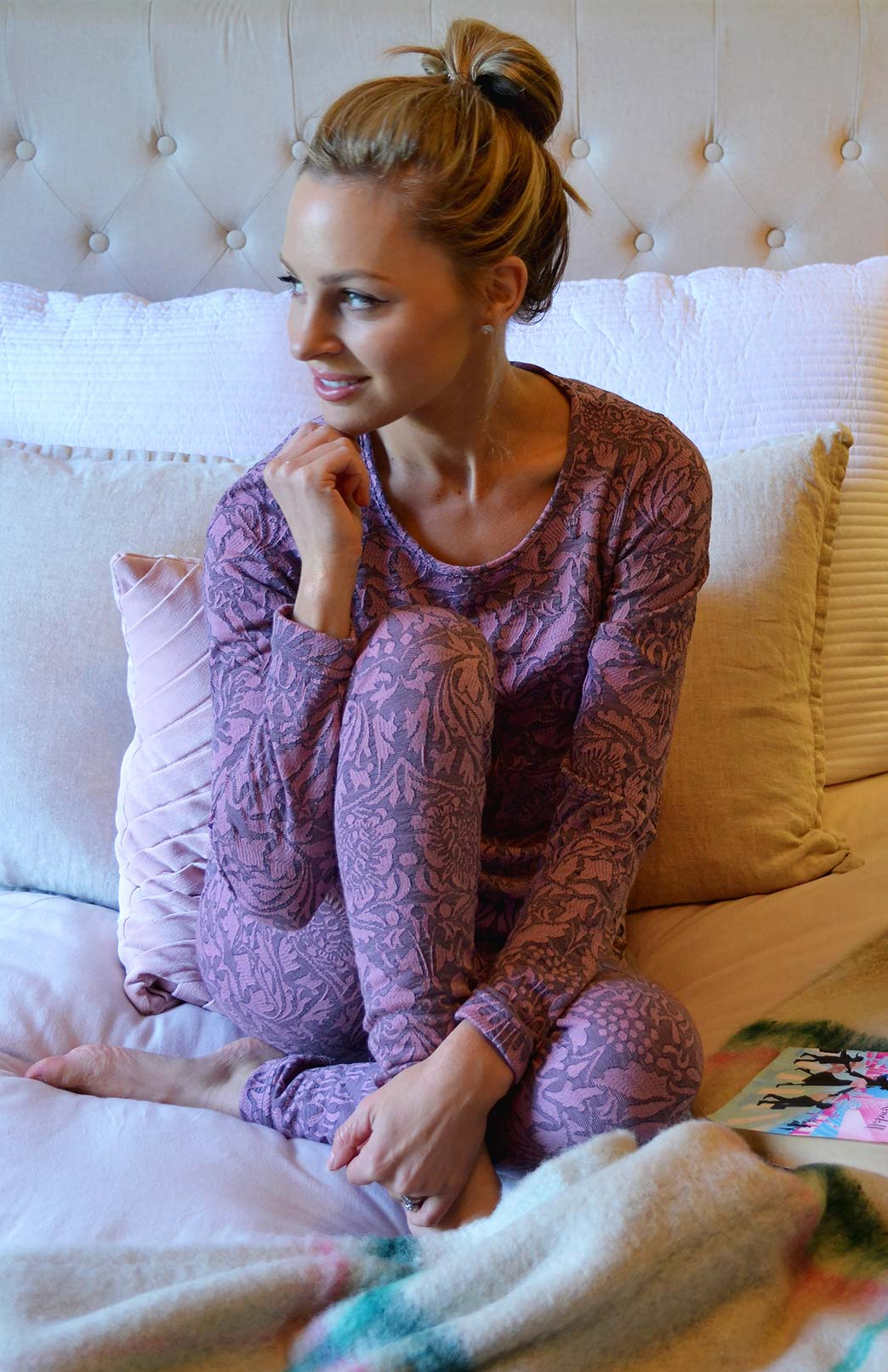 Pyjama Set - Women's Pink Abbey Floral Patterned Wool Matching Pyjama Set of Long Sleeved Top and Tights - Smitten Merino Tasmania Australia