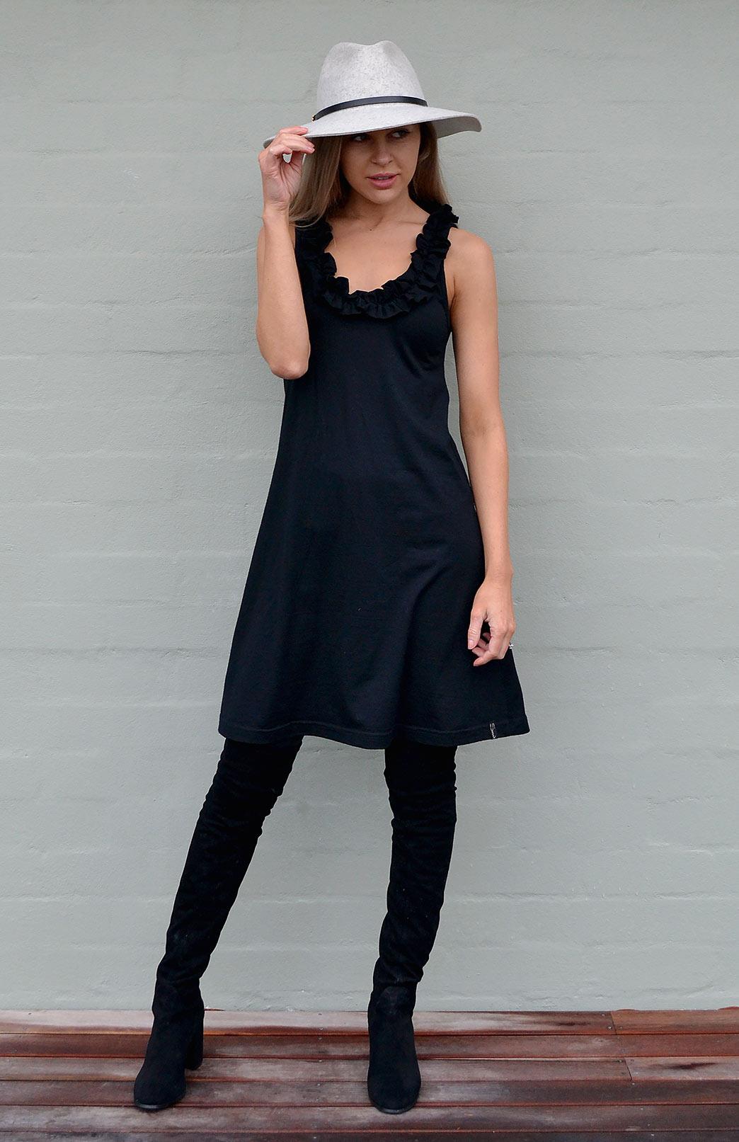 Ruffled Swing Dress - Women's Black Merino Wool Swing Dress with Ruffled Neckline - Smitten Merino Tasmania Australia