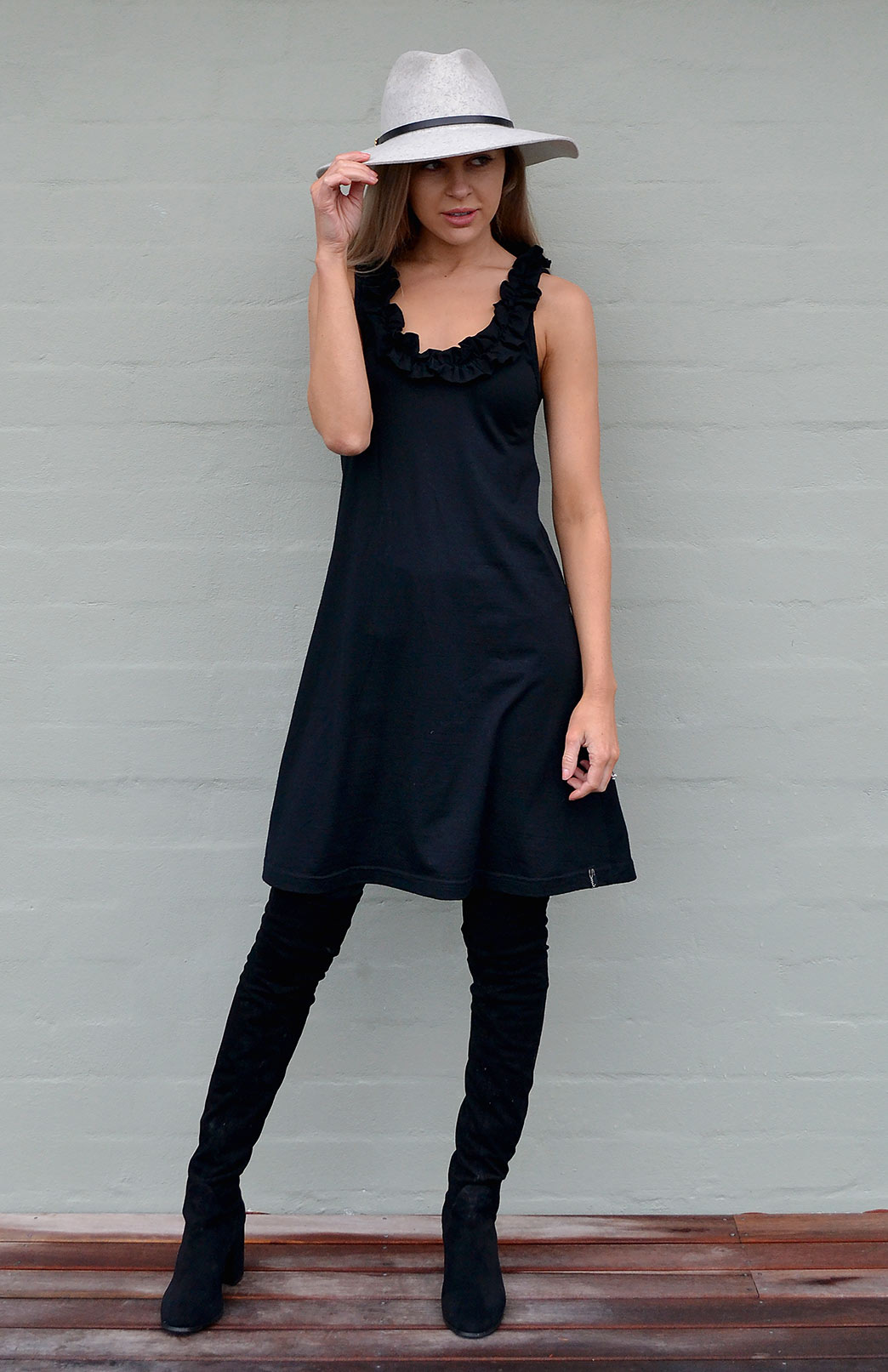 Ruffled Swing Dress - Women's Black Merino Wool Swing Dress with Ruffled Neckline - Smitten Merino Tasmania Australia