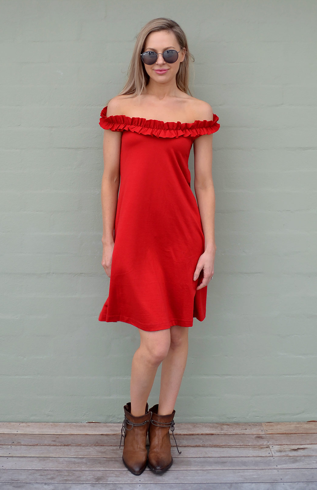 Ruffled Swing Dress - Women's Flame Red Merino Wool Swing Dress with Ruffled Neckline - Smitten Merino Tasmania Australia