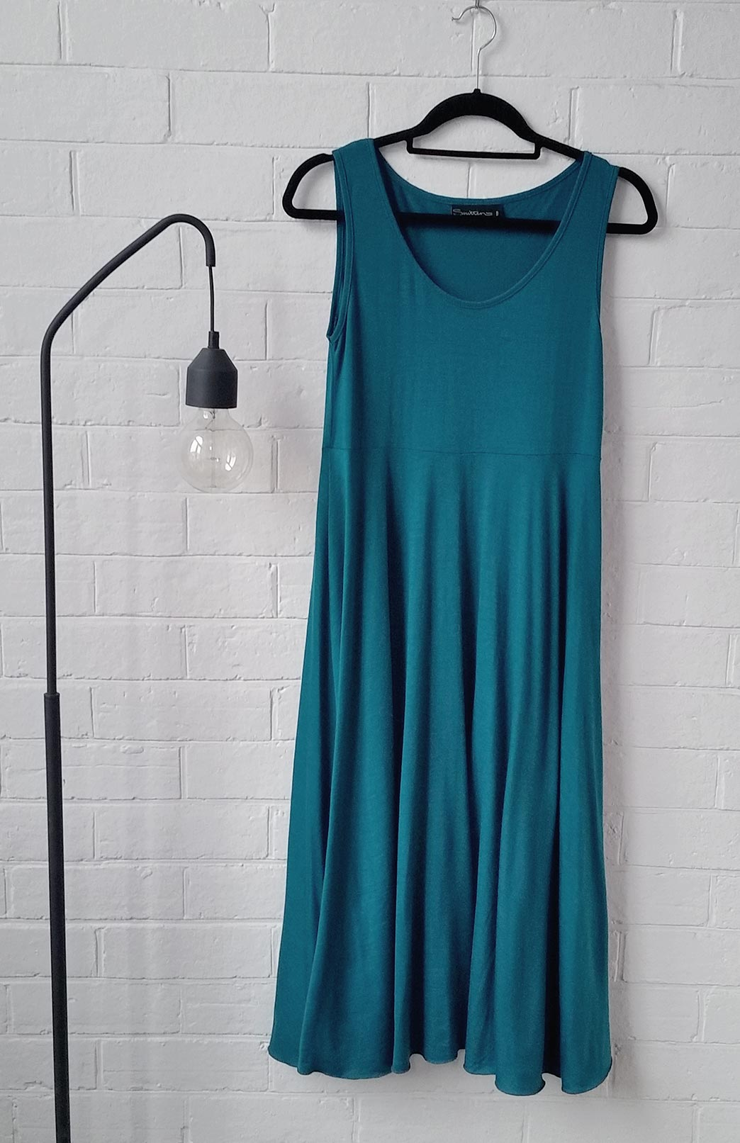 Fan Dress - Women's Teal Woollen Dress with empire waistline - Smitten Merino Tasmania Australia