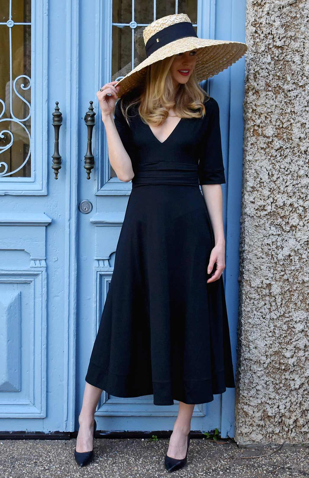 Ava Dress - Women's Midnight Black Wool Party Dress with Elbow Length Sleeves, Deep V-Neckline, Pleated Waistband and Flowing Long Line Skirt - Smitten Merino Tasmania Australia