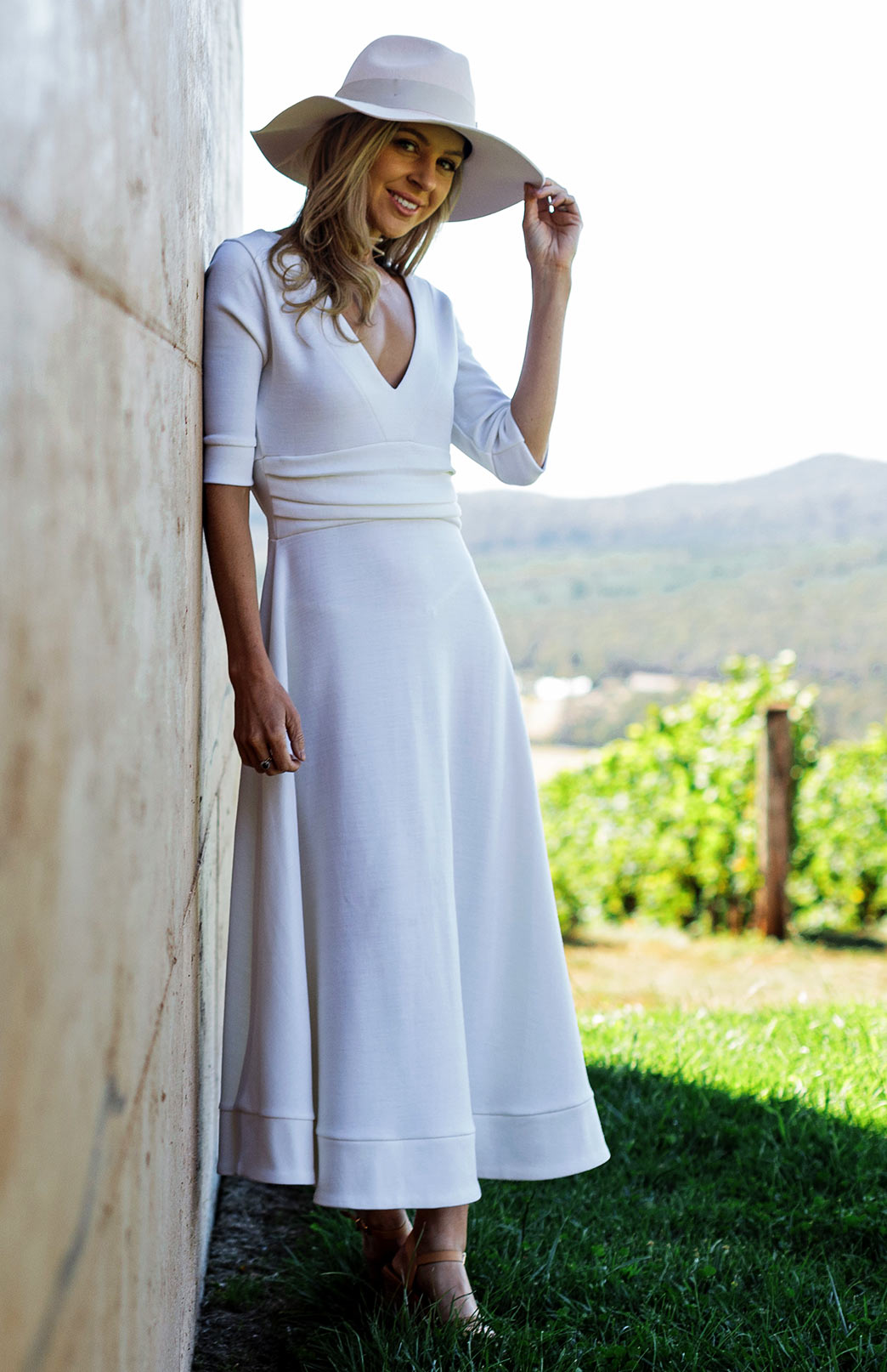 Ava Dress - Women's Vintage Ivory Ponte Wool Party Dress with Elbow Length Sleeves, Deep V-Neckline, Pleated Waistband and Flowing Long Line Skirt - Smitten Merino Tasmania Australia