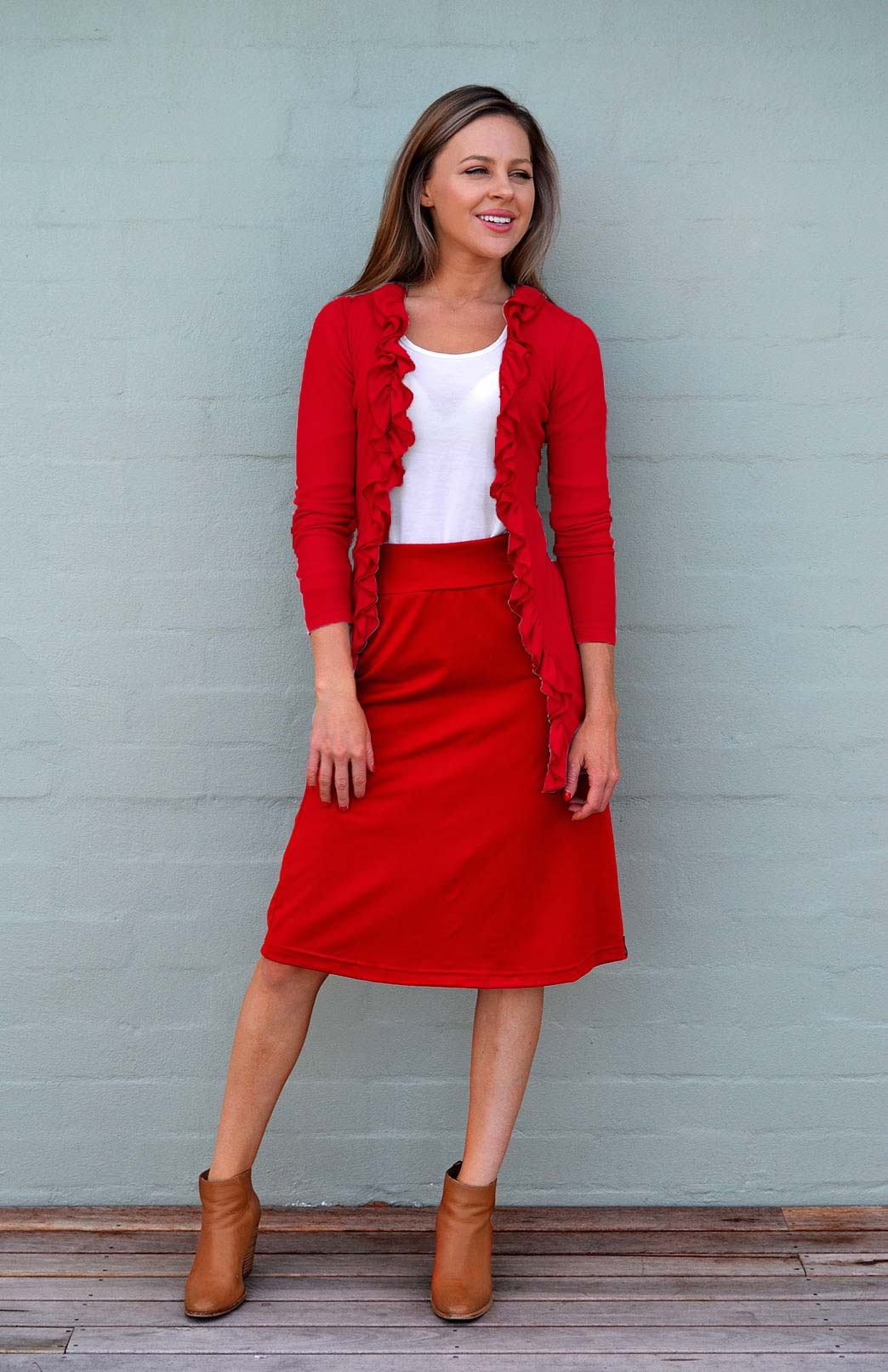 Ruffled Cardigan - Women's Classic Straight Flame Red Wool Cardigan with Ruffled Neckline - Smitten Merino Tasmania Australia