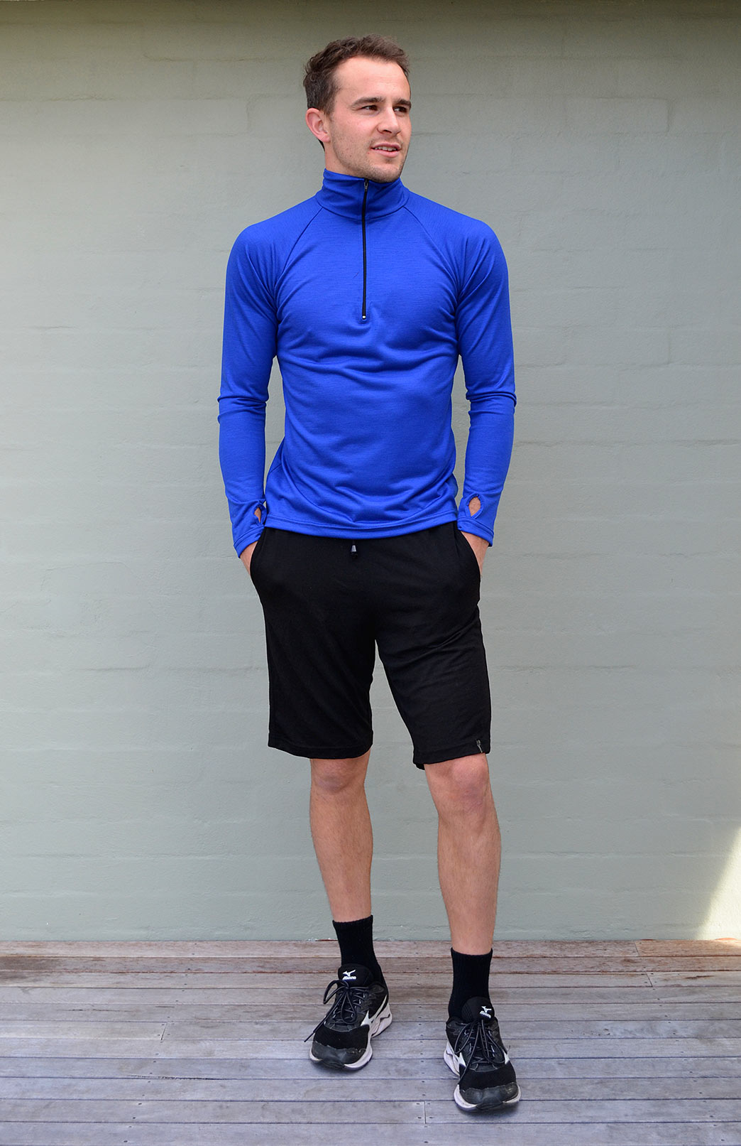 Men's Wool Shorts - Men's Black Merino Wool Sports and Outdoor Shorts - Smitten Merino Tasmania Australia