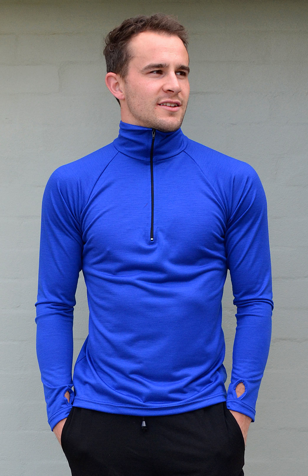 Zip Neck Top - Lightweight (~170g) - Men's Electric Blue Pure Merino Wool Zip Neck Pull Over Top with Thumb Holes - Smitten Merino Tasmania Australia