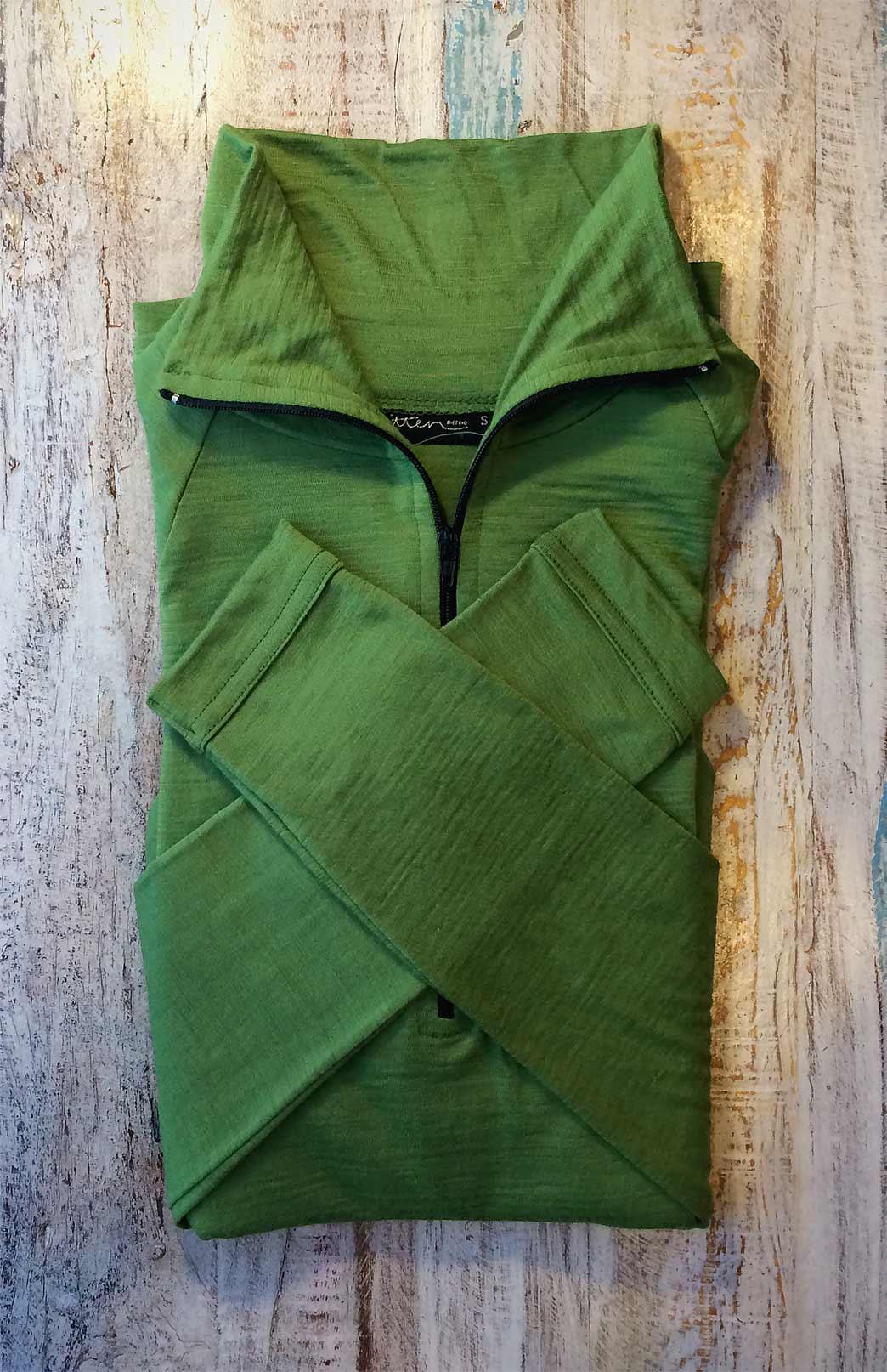 Zip Neck Top - Lightweight (~170g) - Men's Green Merino Wool Zip Neck Pull Over Top with Thumb Holes - Smitten Merino Tasmania Australia