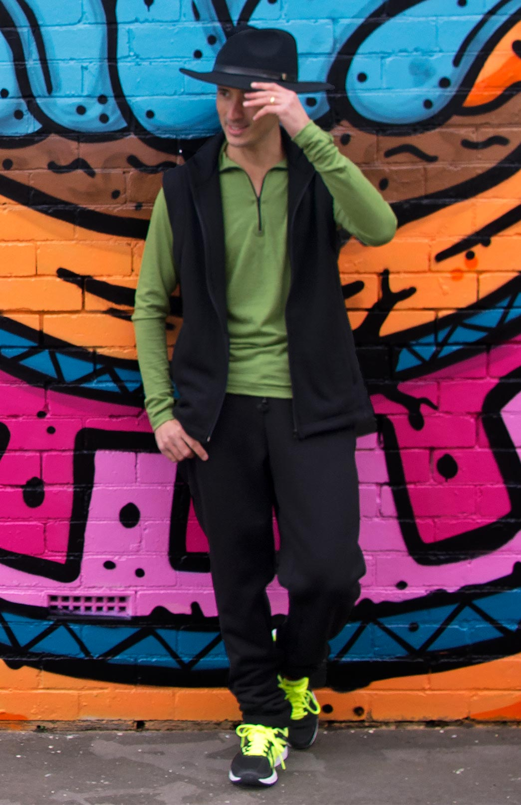 Zip Neck Top - Lightweight (~170g) - Men's Green Merino Wool Zip Neck Pull Over Top with Thumb Holes - Smitten Merino Tasmania Australia