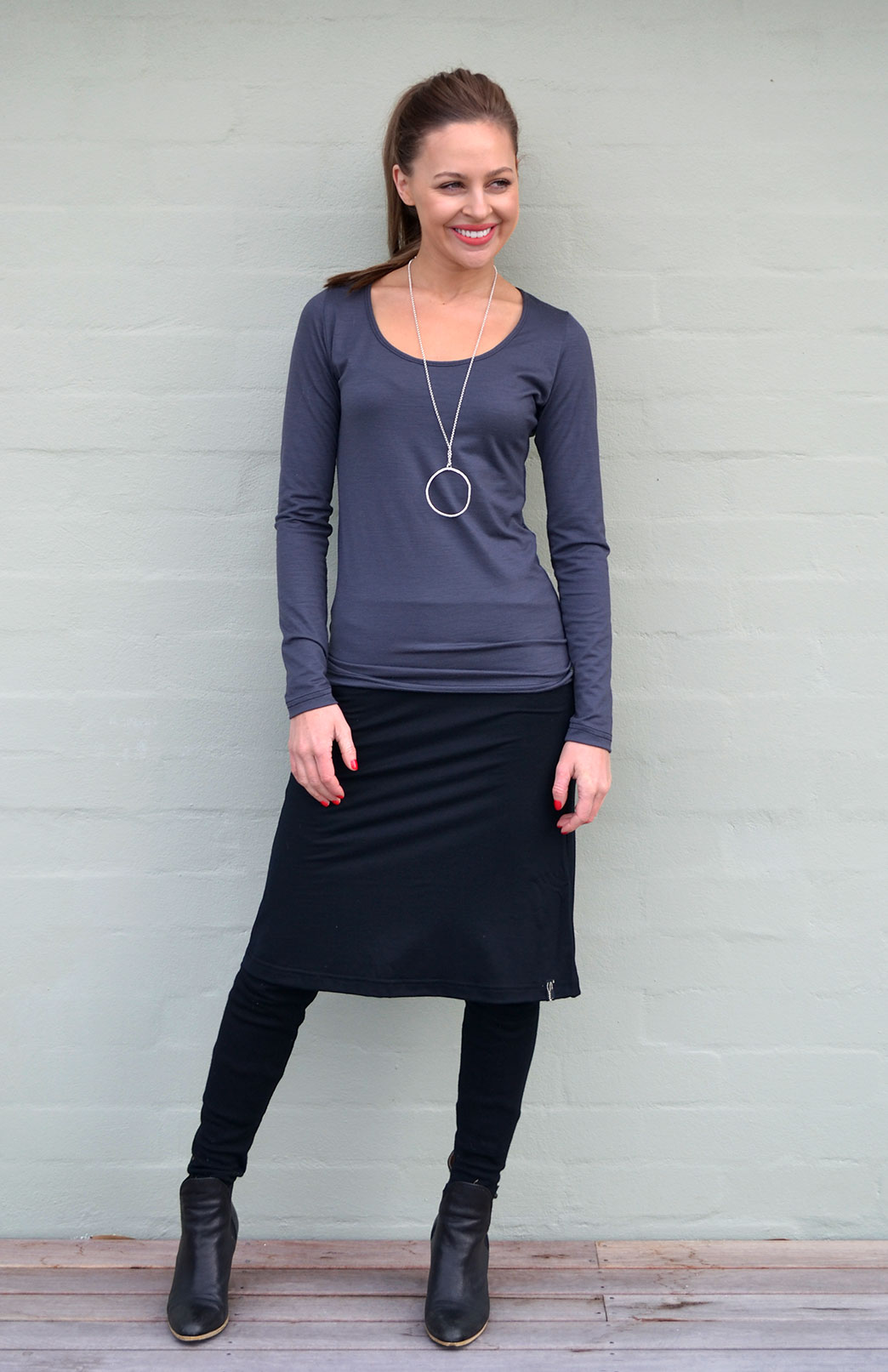 Scoop Neck Top - Plain - Women's Steel Grey Marl Pure Merino Wool Long Sleeved Layering Top with Scoop Neckline - Smitten Merino Tasmania Australia