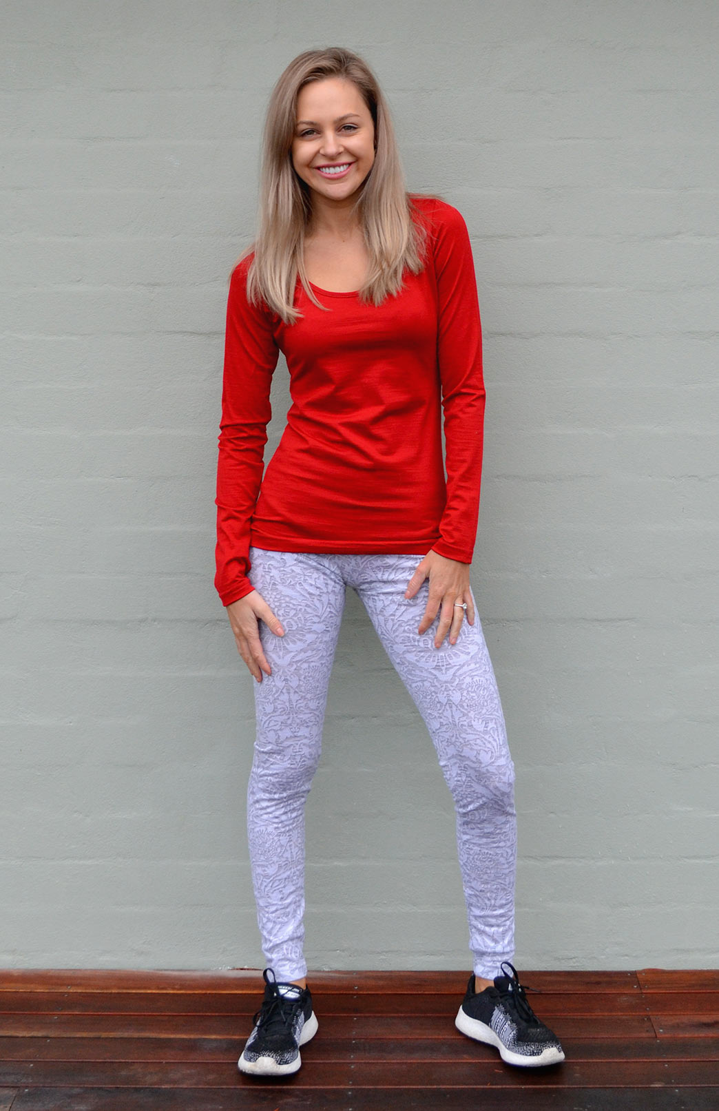 Scoop Neck Top - Plain - Women's Flame Red Pure Merino Wool Long Sleeved Layering Top with Scoop Neckline - Smitten Merino Tasmania Australia