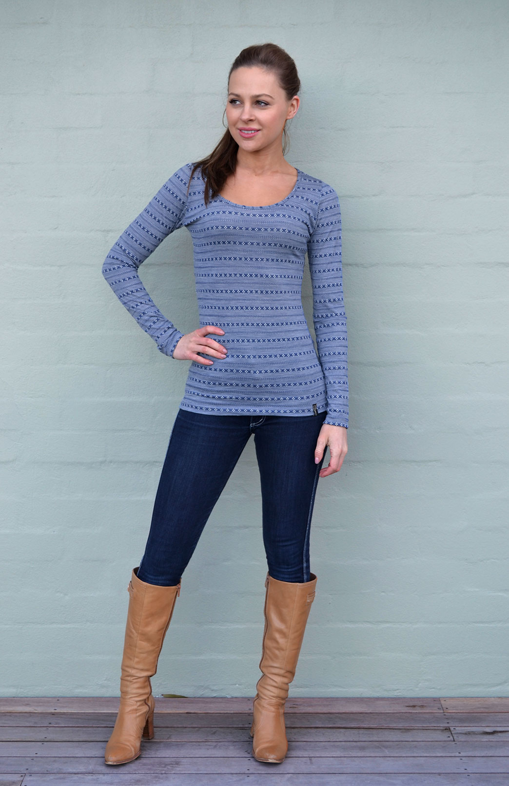 Scoop Neck Top - Patterned - Women's Blue Patterned Merino Wool Long Sleeved Thermal Top with Scoop Neckline - Smitten Merino Tasmania Australia