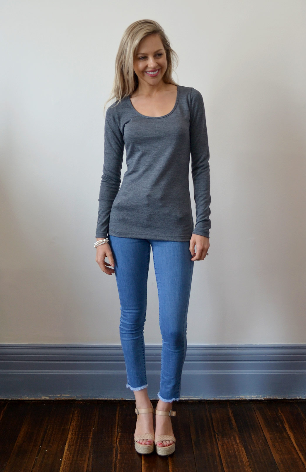 Round Neck Top - Plain - Women's Classic Black Long Sleeve Merino Modal Layering Fashion Top - Smitten Merino Tasmania Australia