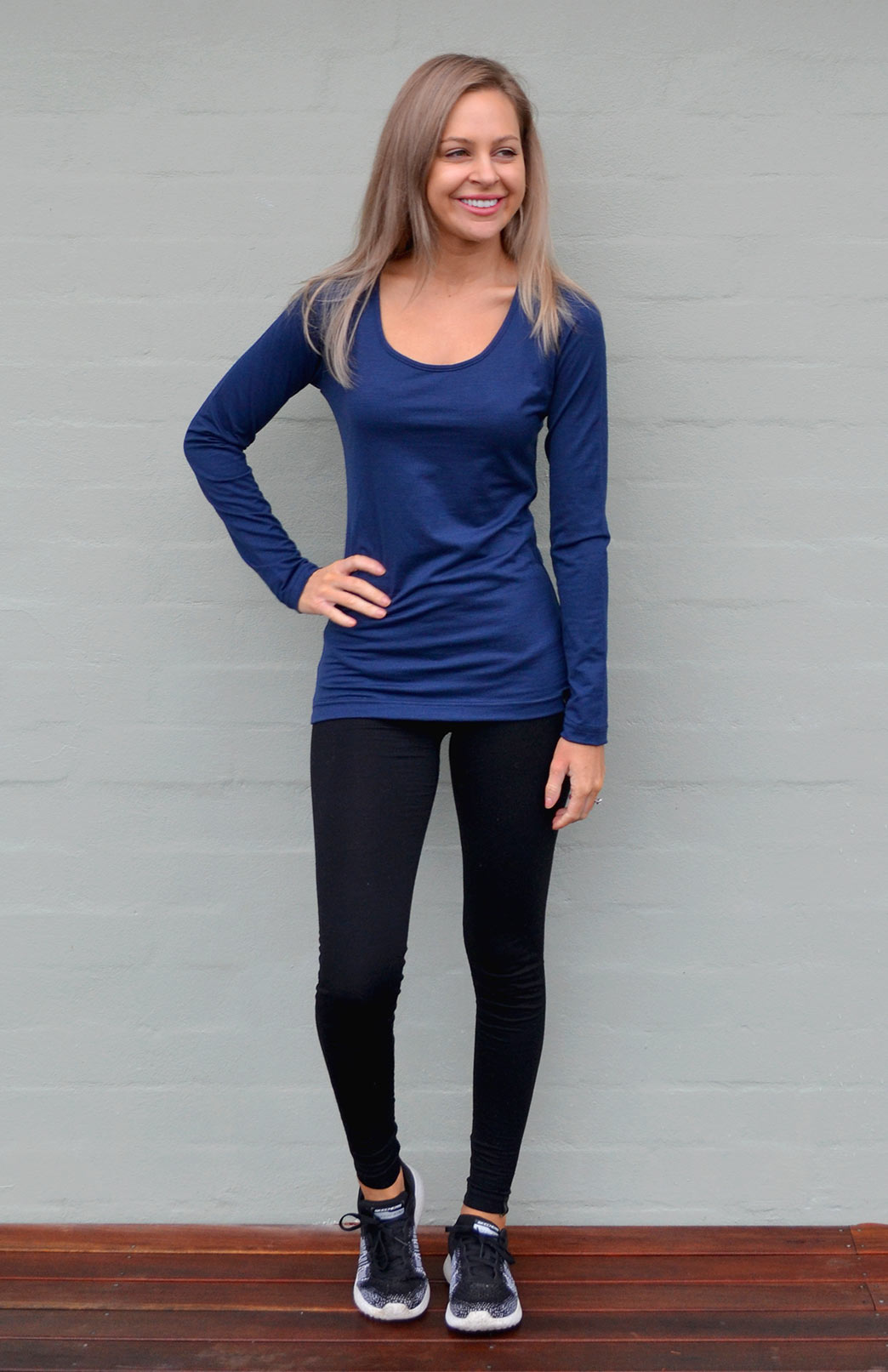 Scoop Neck Top - Plain - Women's Stone Pure Merino Wool Long Sleeved Layering Top with Scoop Neckline - Smitten Merino Tasmania Australia