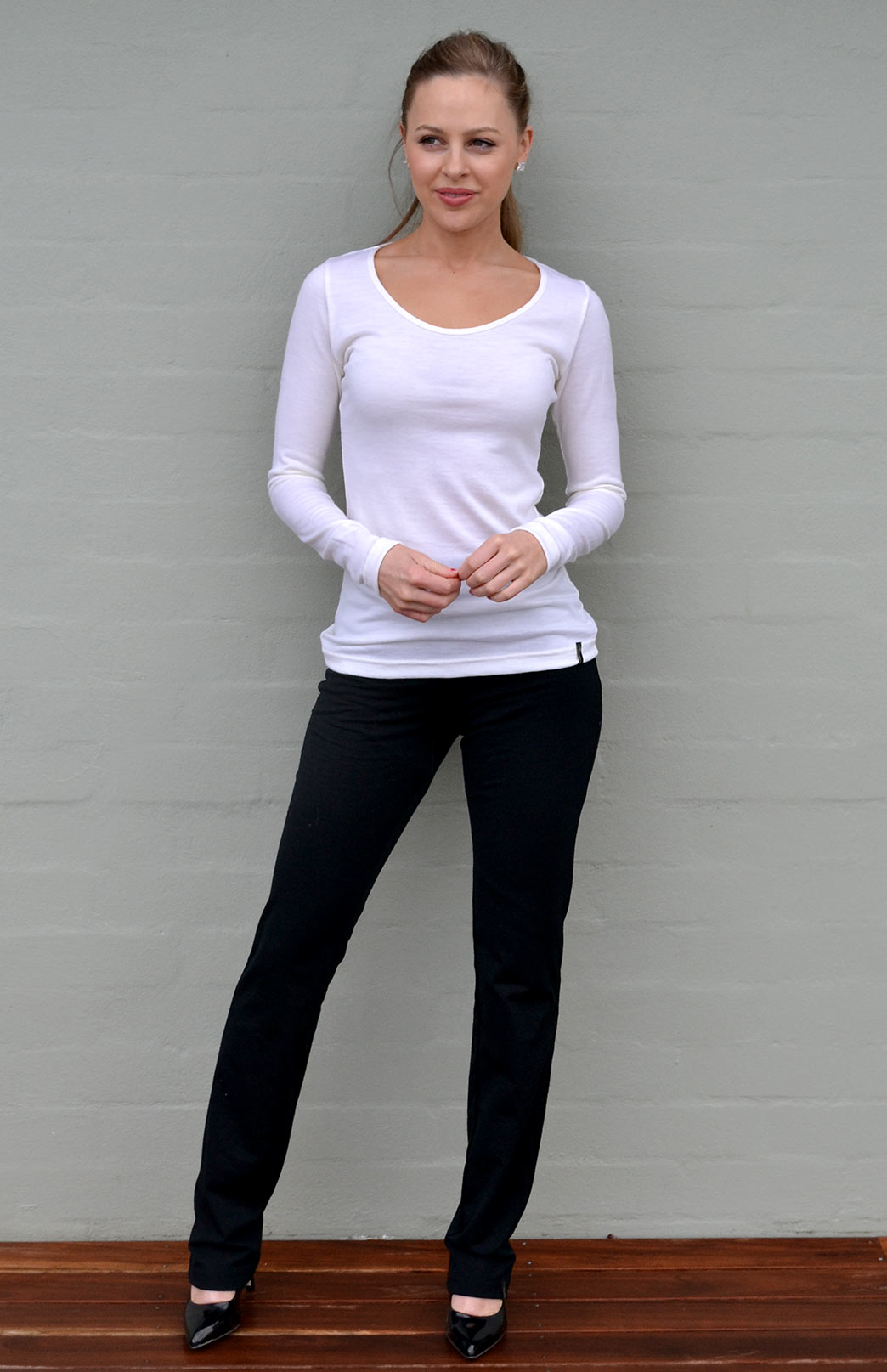 Scoop Neck Top - Plain - Women's Ivory Pure Merino Wool Long Sleeved Layering Top with Scoop Neckline - Smitten Merino Tasmania Australia