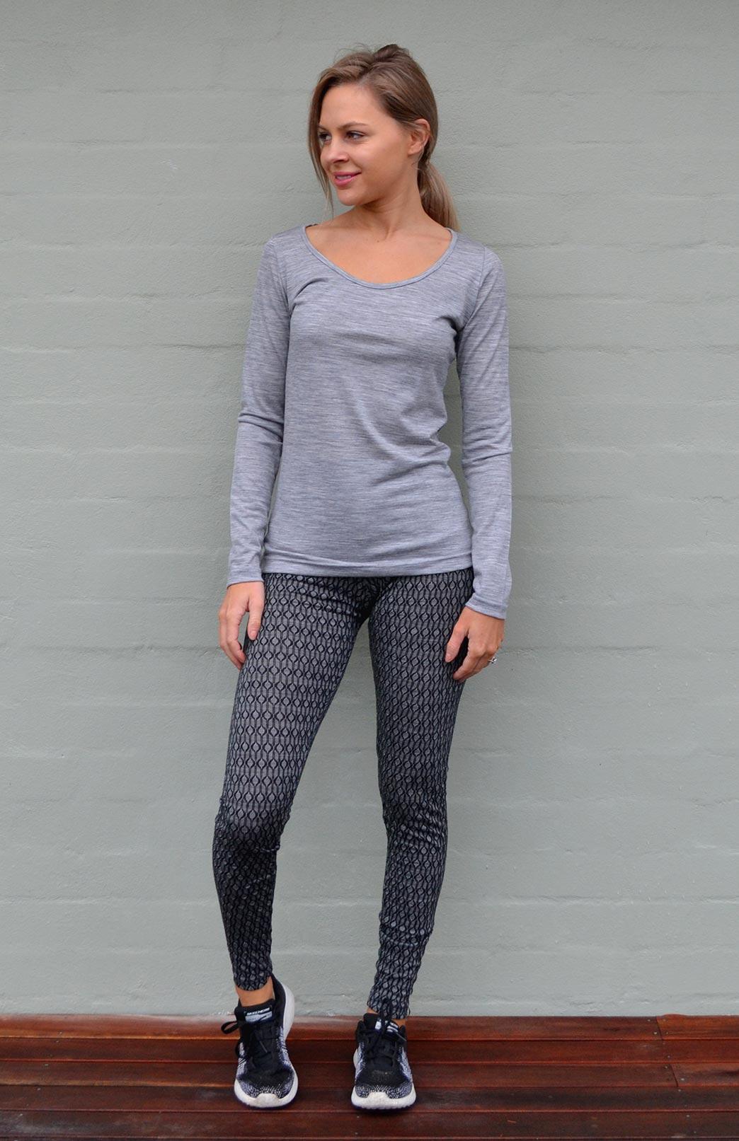 Scoop Neck Top - Plain - Women's Light Grey Marl Pure Merino Wool Long Sleeved Layering Top with Scoop Neckline - Smitten Merino Tasmania Australia