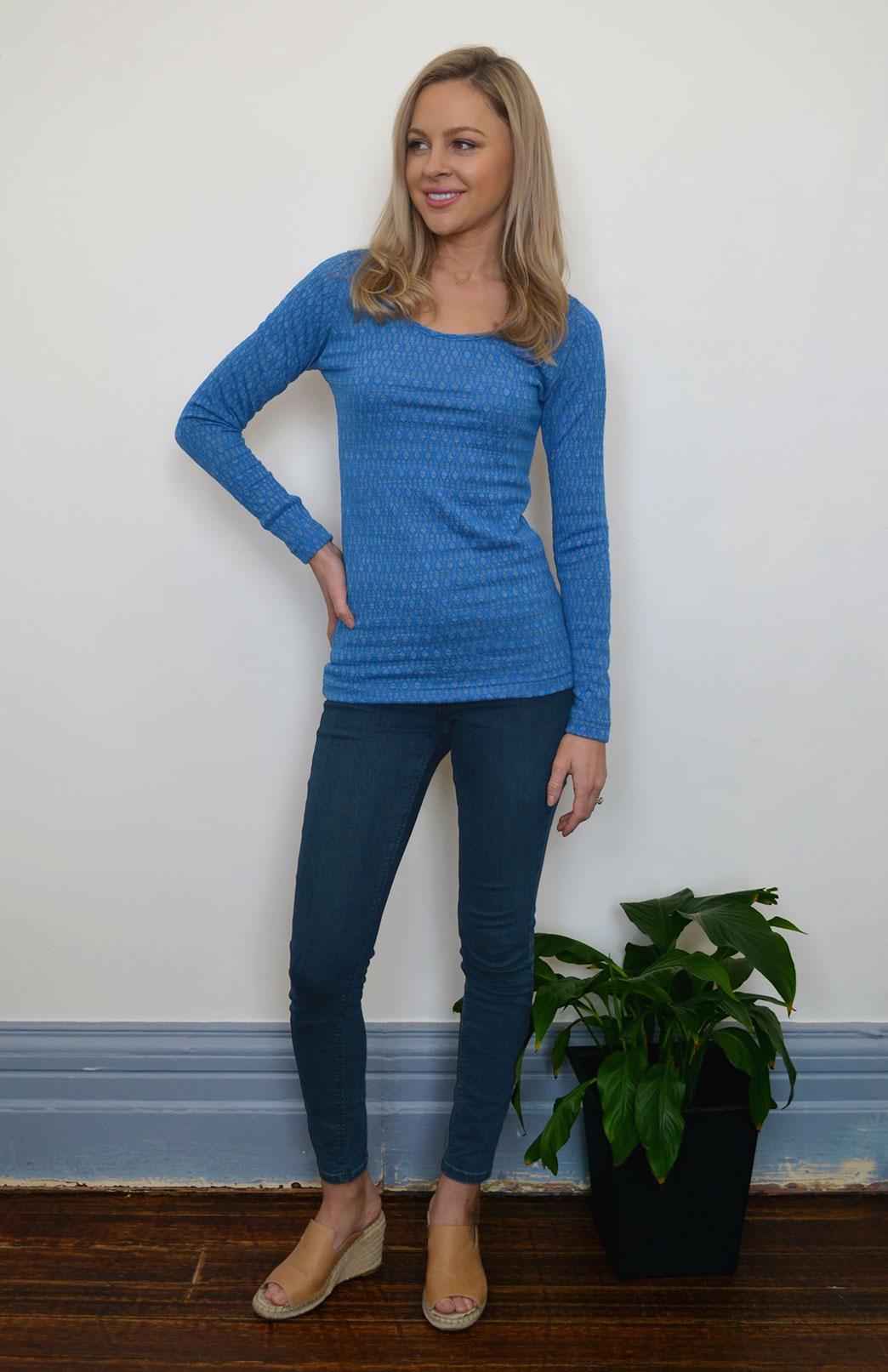 Scoop Neck Top - Patterned - Women's Blue Patterned Merino Wool Long Sleeved Thermal Top with Scoop Neckline - Smitten Merino Tasmania Australia