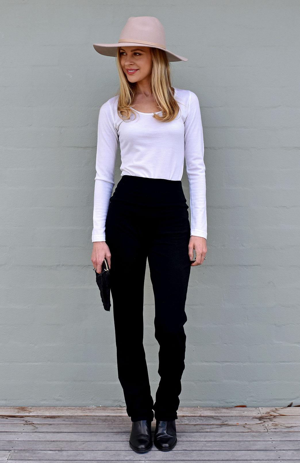 Straight Leg Pants - Midweight - Women's Black Midweight Wool Straight Leg Pants with wide waistband - Smitten Merino Tasmania Australia