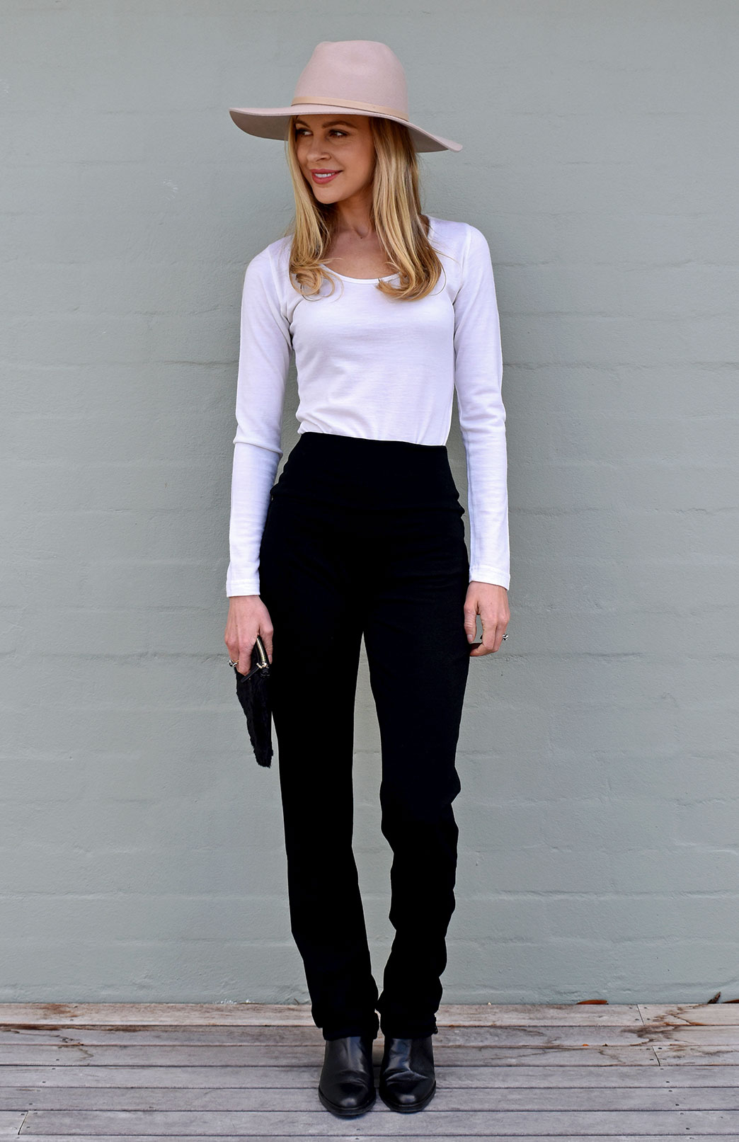 Straight Leg Pants - Midweight - Women's Black Midweight Wool Straight Leg Pants with wide waistband - Smitten Merino Tasmania Australia