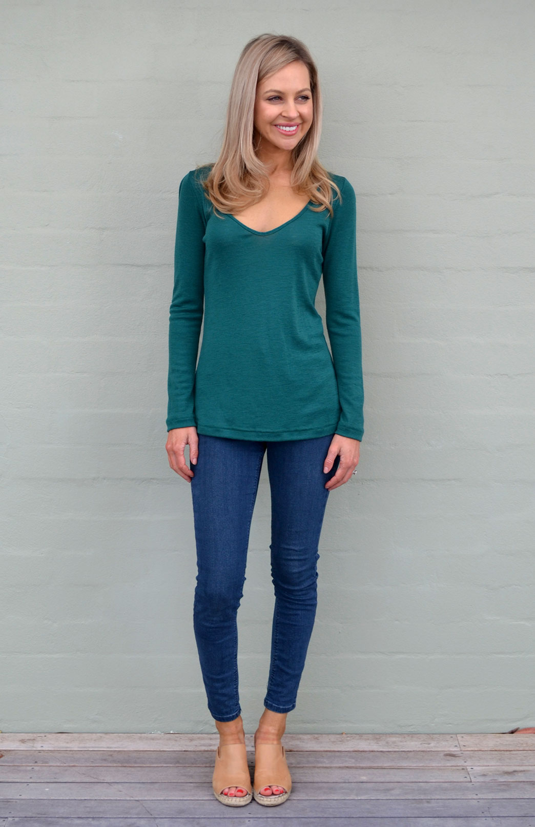 V-Neck Top (Rib) - Women's Pure Wool Emerald Green V-Neck Top with Long Sleeves - Smitten Merino Tasmania Australia