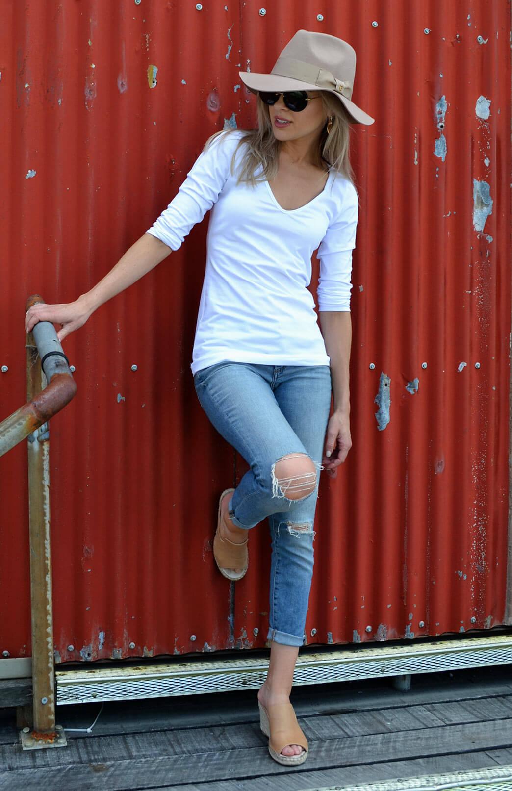 V-Neck Top (Organic Cotton) - Women's White Organic Cotton V-Neck Top with Long Sleeves - Smitten Merino Tasmania Australia