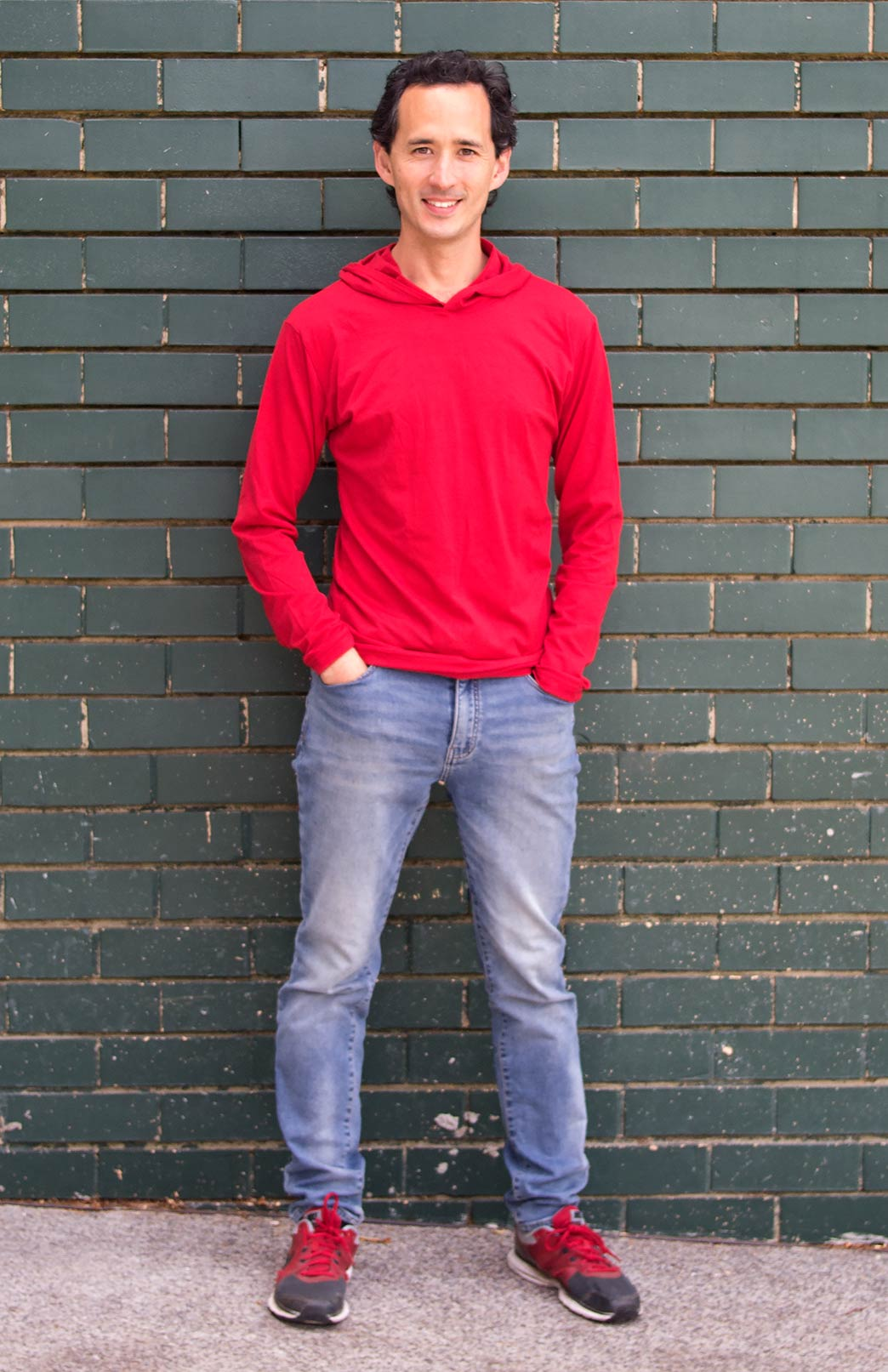 Crew Neck Hoody (~200g) - Men's Lightweight 200g Flame Red Wool Long Sleeved Crew Neck Top with hood - Smitten Merino Tasmania Australia