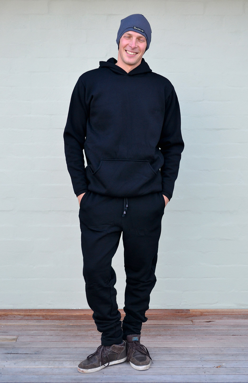 Men's Wool Fleece Track Pants - 350g - Men's Black Merino Wool Fleece Track Pants Joggers - Smitten Merino Tasmania Australia