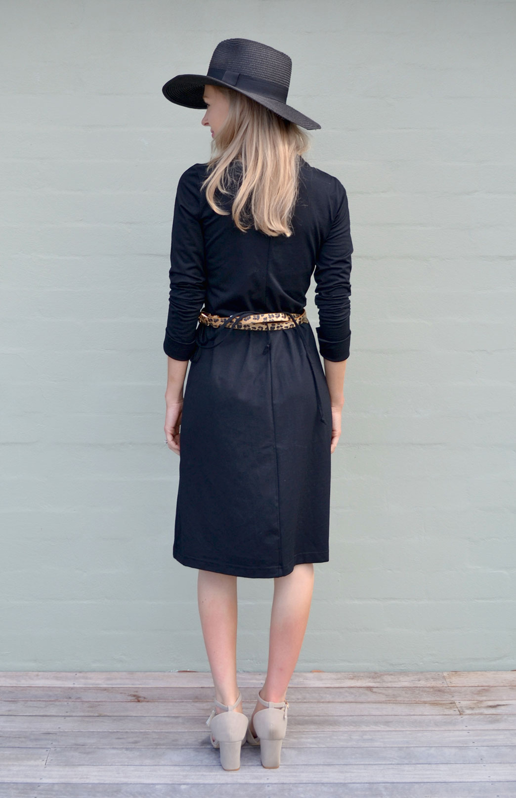 6e2e1e43987b Wrap Dress | Women's Black Merino Wool Long Sleeved Wrap Dress with ...