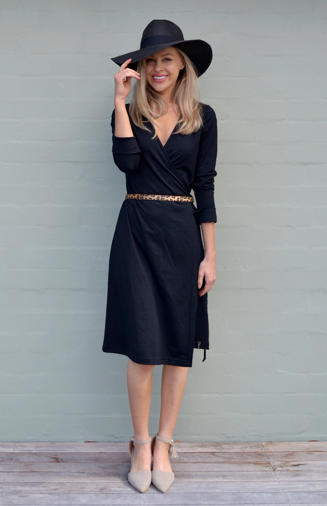 Wrap Dress - Long Sleeved - Women's Black Merino Wool Long Sleeved Wrap Dress with adjustable ties - Smitten Merino Tasmania Australia