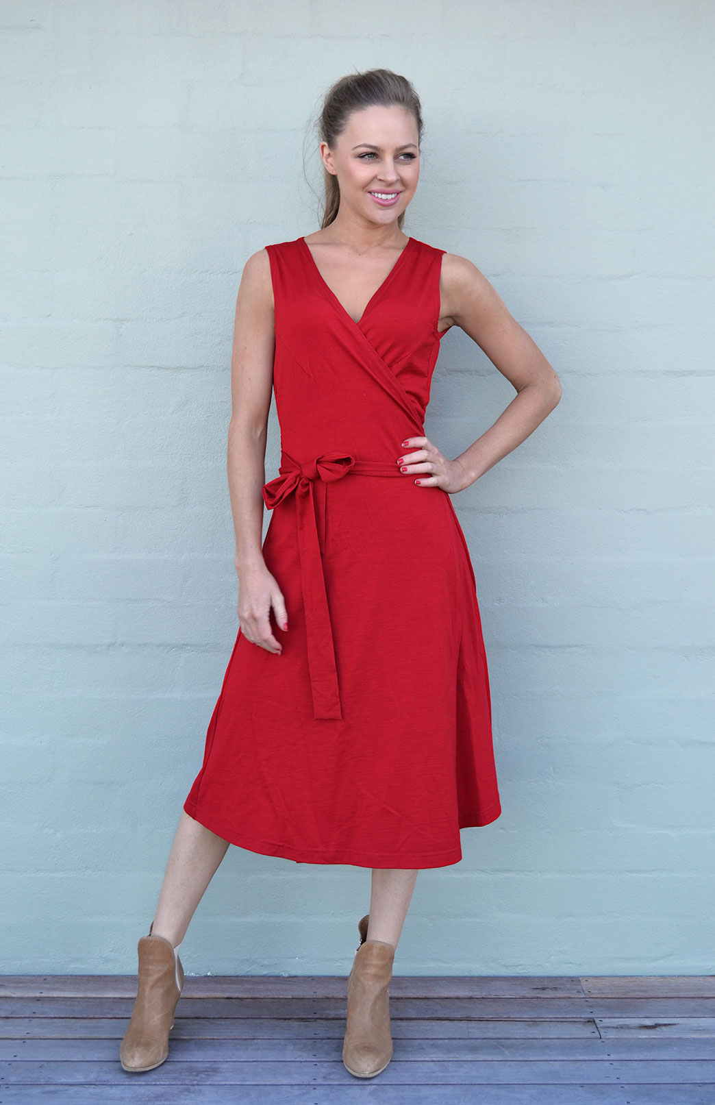 Wrap Dress - Sleeveless - Smitten Merino Tasmania Australia