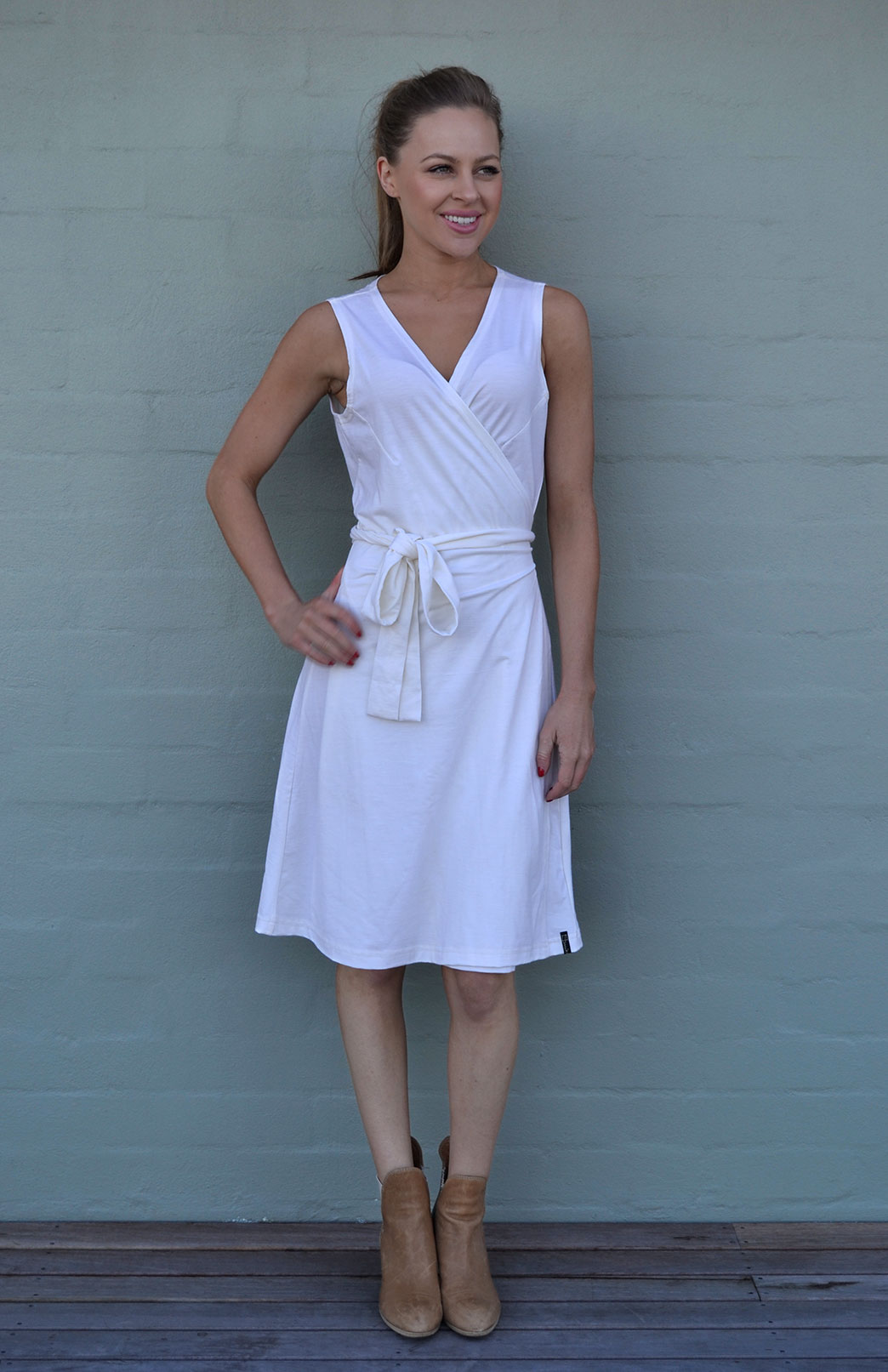 Wrap Dress - Sleeveless - Women's Ivory Merino Wool Sleeveless Wrap Dress with Ties - Smitten Merino Tasmania Australia