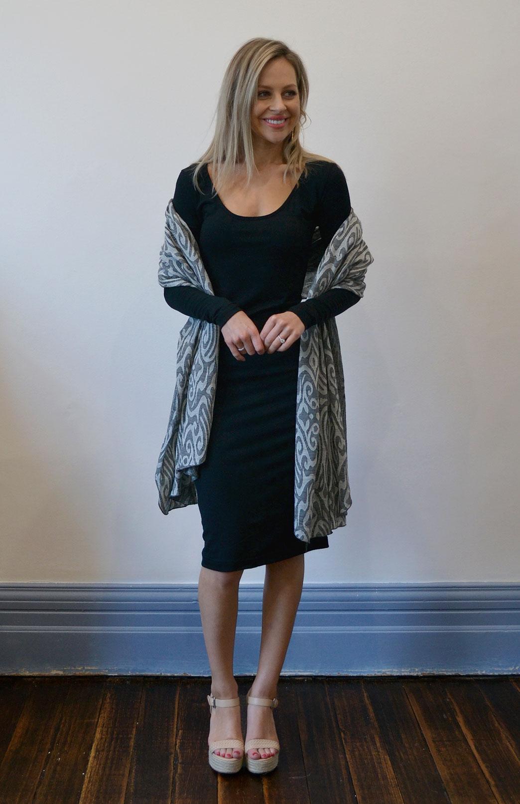 Scoop Neck Dress - Long Sleeve - Women's Black Long Sleeve Wool Fitted Scoop Dress - Smitten Merino Tasmania Australia