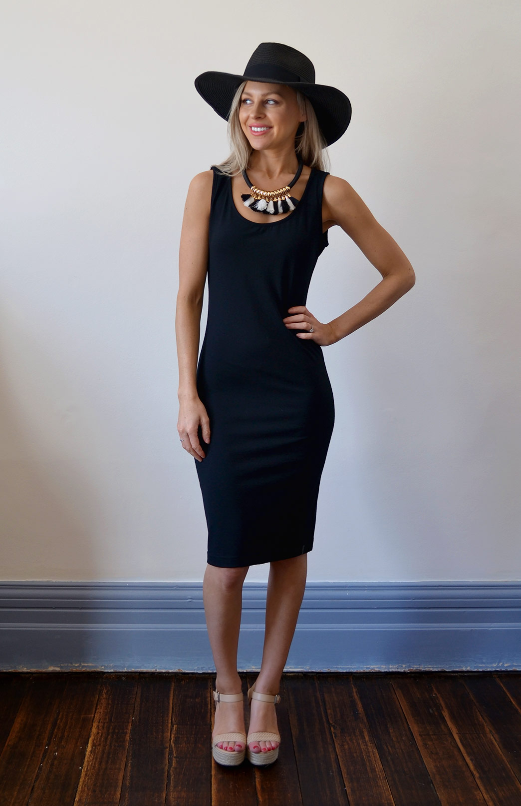 Scoop Dress - Sleeveless - Women's Black Sleeveless Fitted Scoop Dress - Smitten Merino Tasmania Australia