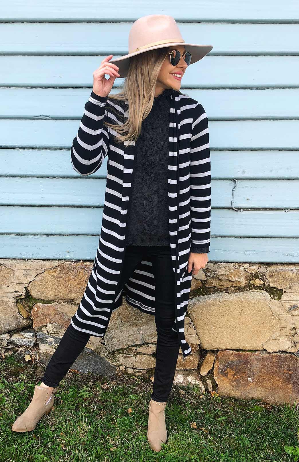 Long Drape Cardigan - Heavyweight - Women's Black and Grey Stripe Merino Wool Heavyweight Long Drape Cardigan - Smitten Merino Tasmania Australia