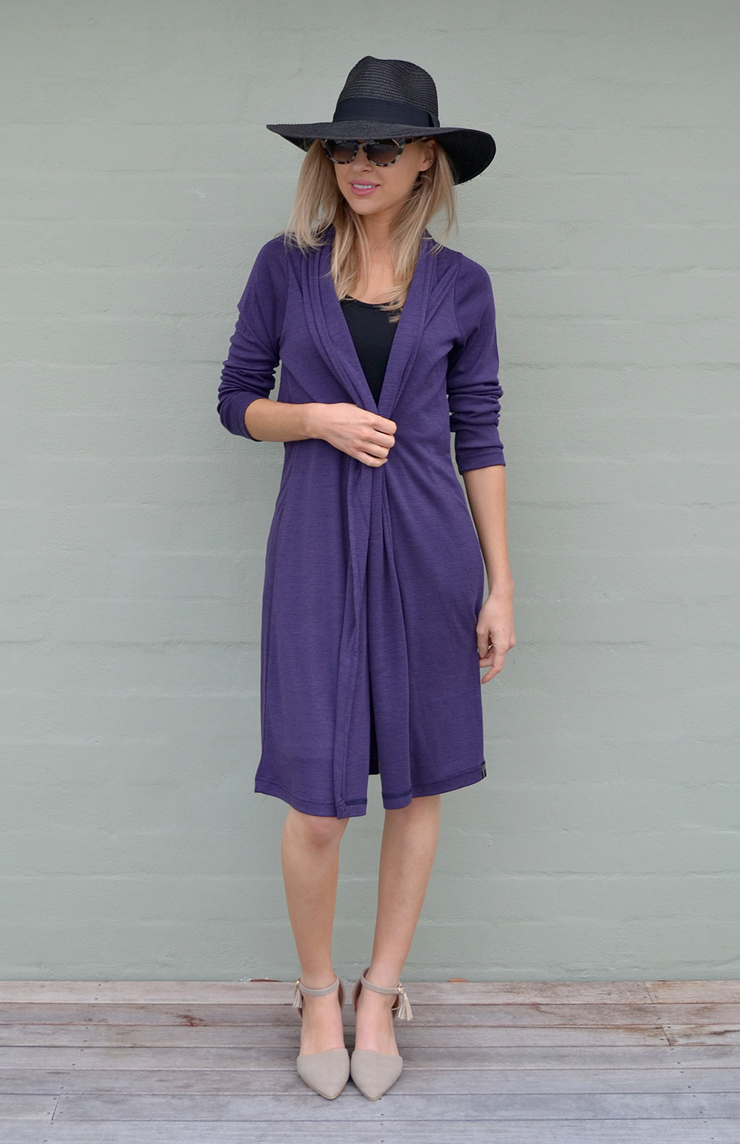 Long Drape Cardigan - Heavyweight - Women's Deep Grape Purple Merino Wool Heavyweight Long Drape Cardigan - Smitten Merino Tasmania Australia