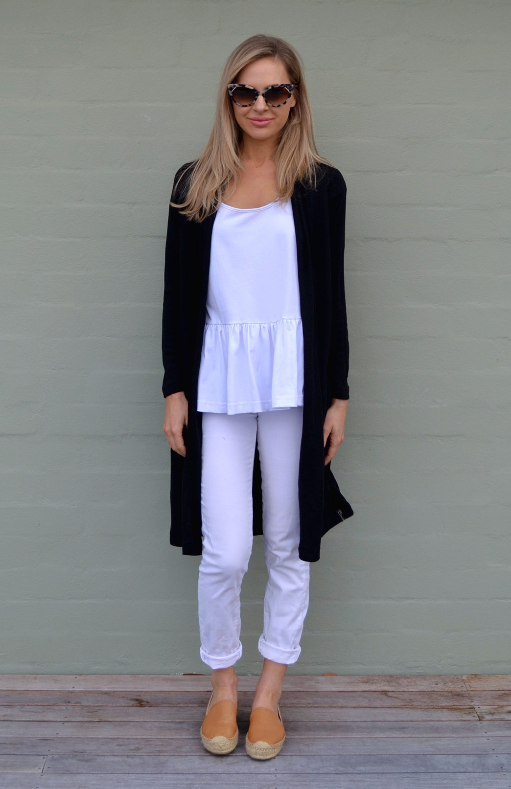 Long Drape Cardigan - Lightweight - Women's Black Lightweight Merino Wool Long Drape - Smitten Merino Tasmania Australia