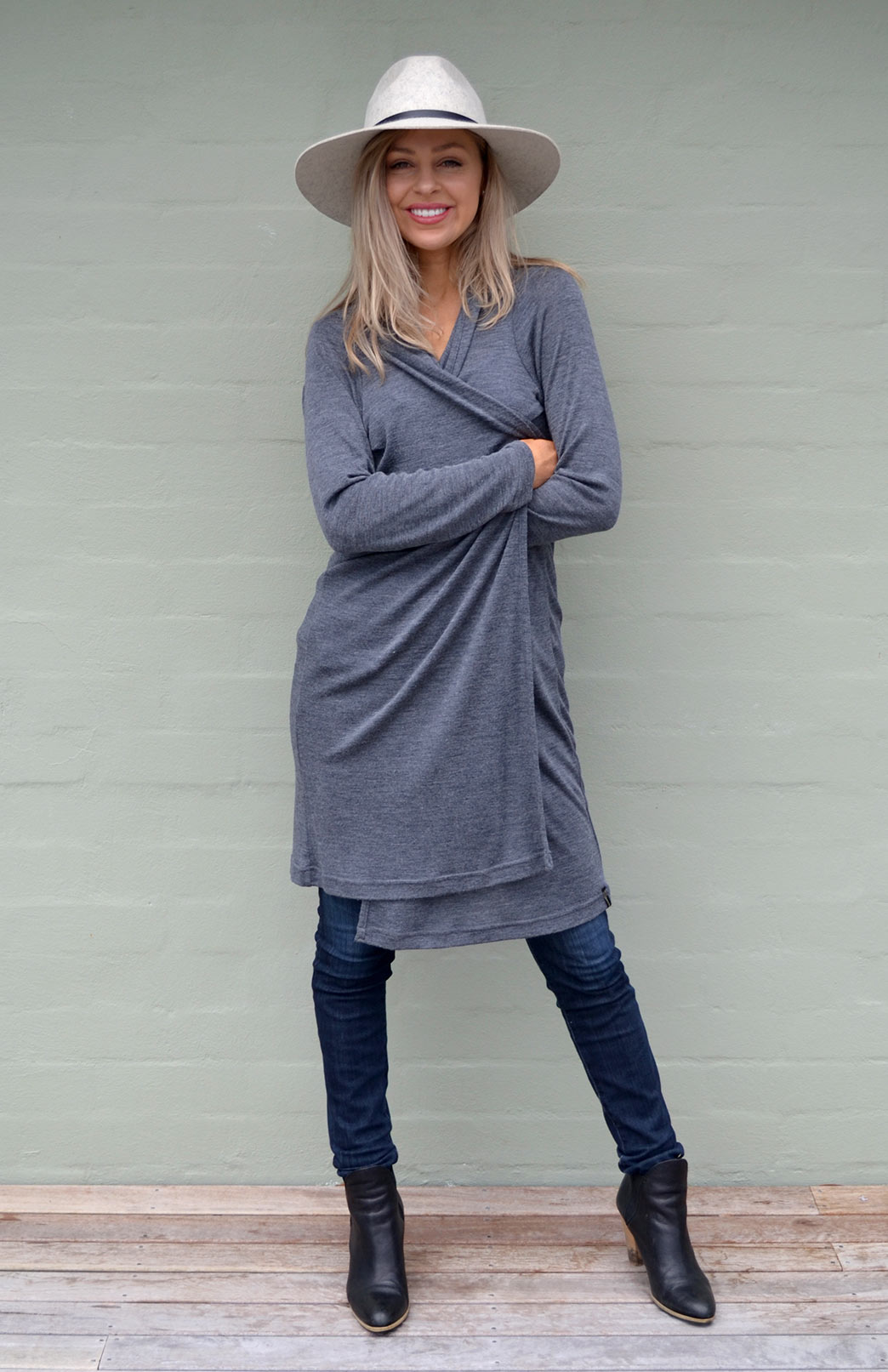 Long Drape Cardigan - Lightweight - Women's Knee Length Grey Marl Merino Wool Waterfall Cardigan - Smitten Merino Tasmania Australia