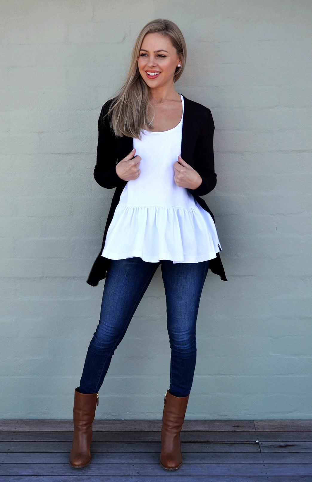 Slimline Cardigan - Women's Classic Black Long Sleeve Simple Merino Wool Cardigan - Smitten Merino Tasmania Australia