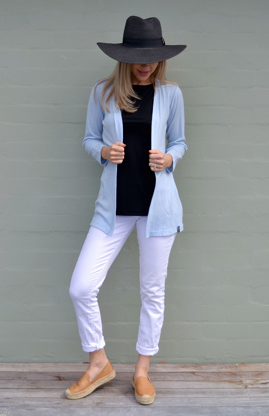 Slimline Cardigan - Women's Classic Light Blue Long Sleeve Simple Merino Wool Cardigan - Smitten Merino Tasmania Australia